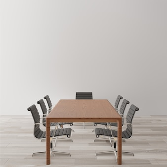 Empty meeting room with chairs, wooden table
