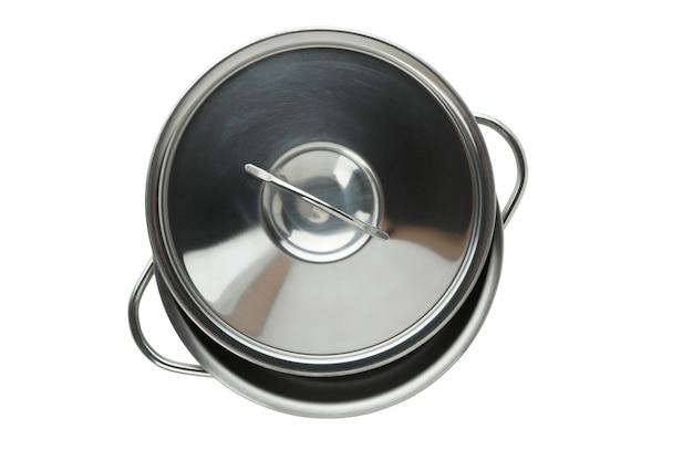 Пустой металлический горшок, изолированные на белом фоне