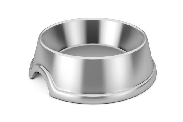 白い背景の上の犬、猫または他のペットのための空の金属ステンレス鋼のボウル。 3dレンダリング