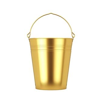 白地にハンドル付きの空のメタルゴールドバケット。 3dレンダリング
