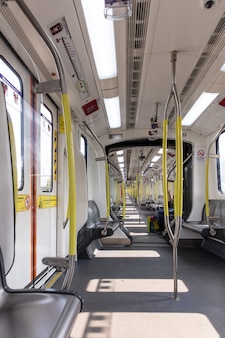 Empty metro subway train space pandemic photo. high quality photo