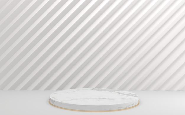 Пустой мини-подиум белый круг. 3d рендеринг