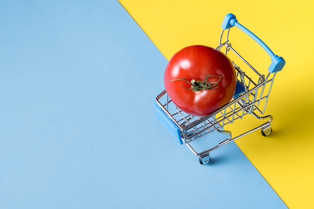 Empty miniature shopping cart carrying tomato on bright blue and yellow background.