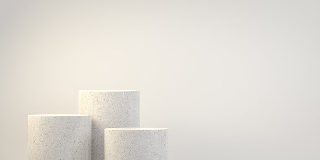Empty minimal basic step marble podium with copy space background 3d render