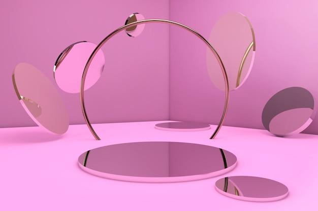幾何学的な形のスタンドと製品を挿入するための空の壁を備えた空の最小限の部屋