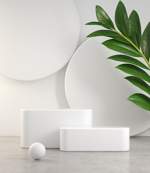 Empty minimal white podium set on cement floor and plant abstract background 3d render