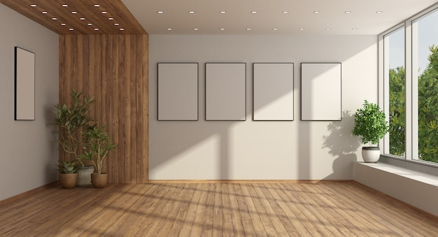 Empty minimalist living room with  wooden paneling, harwood fllor and large window