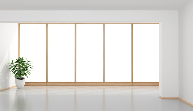 Empty minimalist room with large window