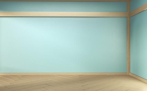 Empty mint room on wooden floor interior design. 3d rendering