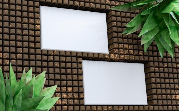 나무 배경 3d 렌더링에 배열된 명함 스택의 빈 모형