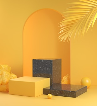 Empty mockup step black marble podium with yellow concept and palm leaf