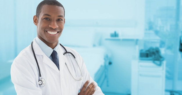 Empty modern arms crossed corporate physician