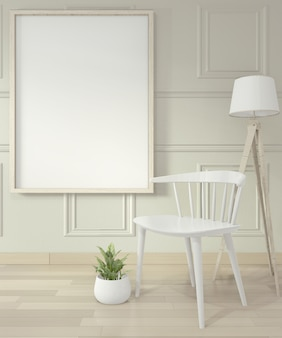 Empty modern contemporary room and design wall with molding, mock up poster frame and chair
