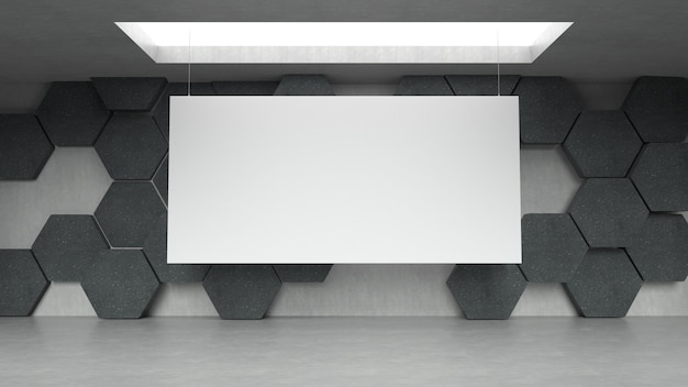 Empty modern exhibition gallery interior with hexagons pattern background and hanging whit