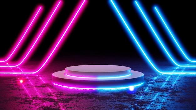 네온 라인 모양의 조명 3d 렌더링과 검은 배경에 빈 현대 미래 공상 과학 빈 어두운 그런 지.