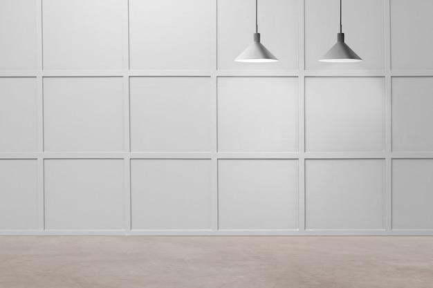 천장 램프가 있는 빈 현대적인 고급 객실 인테리어 디자인