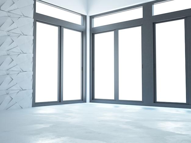 Пустая современная белая комната с большими окнами и бетонным полом