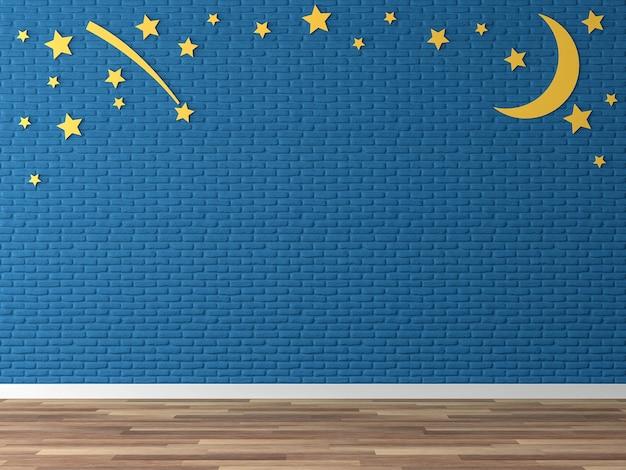 빈 남색 벽돌 벽 3d 렌더링노란 달과 별이 있는 나무 바닥 장식