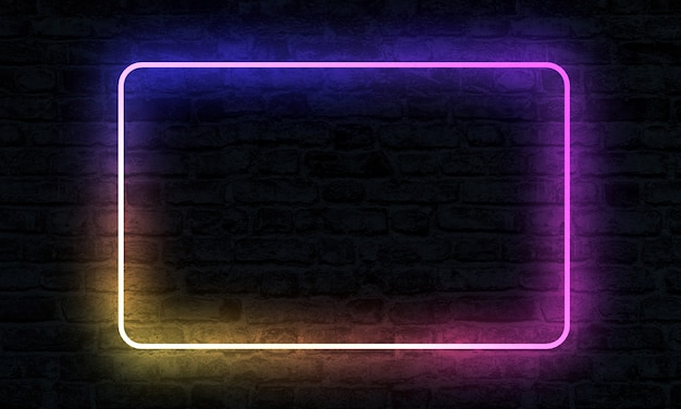 Empty neon sign with illumination on brick wall in 3d rendering