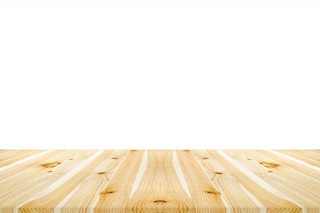 Empty new clean light wood table top or counter isolated on white background