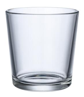 白い背景で隔離された空の新しいガラスをクローズアップ