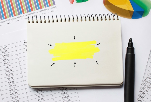 Empty notebook for business concepts, business background