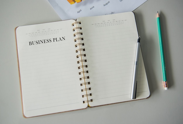 Empty notebook for writing bussiness plan and goals