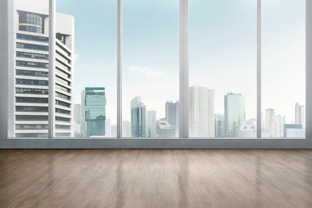 Empty office room with wooden floor