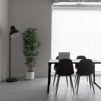 Empty office with chairs and table