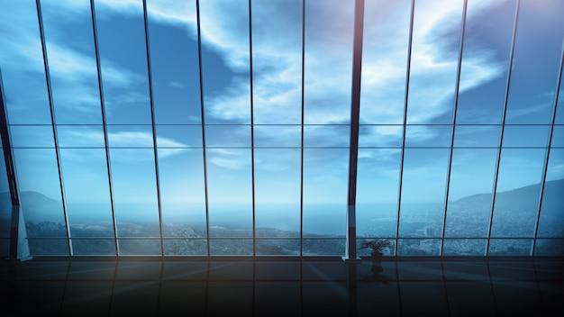 パノラマの窓と空のオフィス