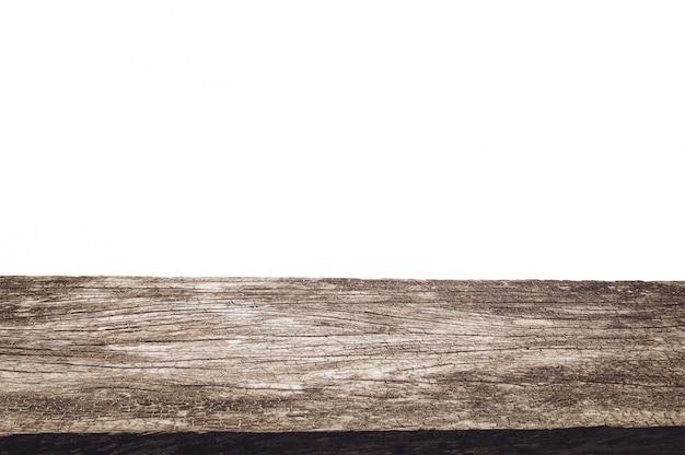 空の古い木製のテーブル背景を白に分離します。