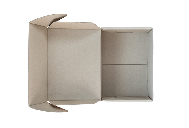 Empty open cardboard box on white background. delivery concept.