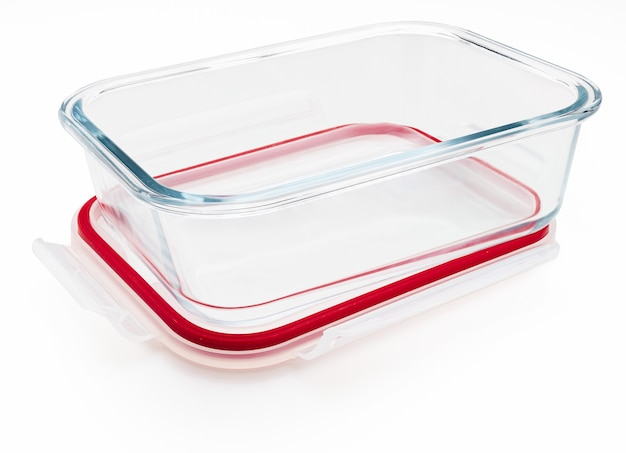 Empty and open glass tupperware