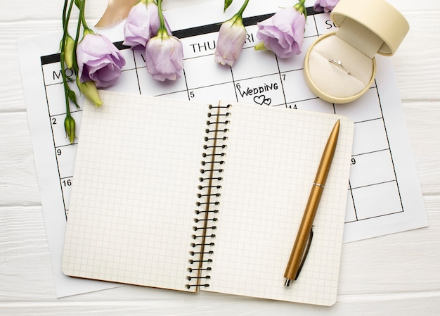 Empty open notebook wedding planner
