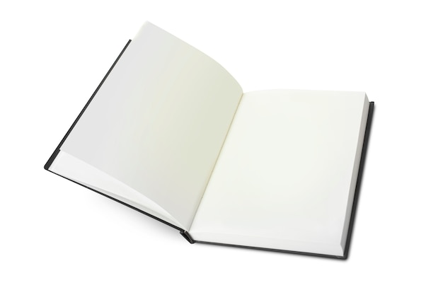 Empty opened notebook closeup on white