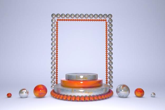 Пустой подиум цилиндра с эффектом оранжевого и синего мрамора с серебряным узором и белой сияющей жемчужной отделкой на синем пастельном фоне.