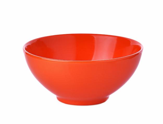 Empty orange ceramic bowl on white background