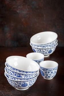 Empty oriental bowls