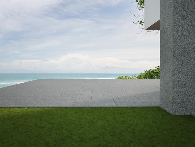 Пустая открытая терраса с бетонным полом и сад с зеленой травой в современном пляжном домике