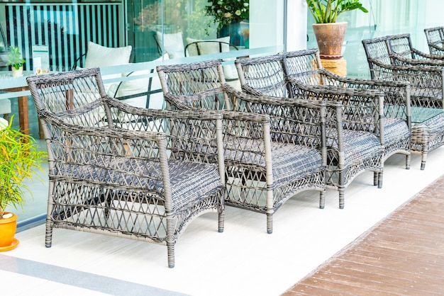 Empty outdoor patio chairs