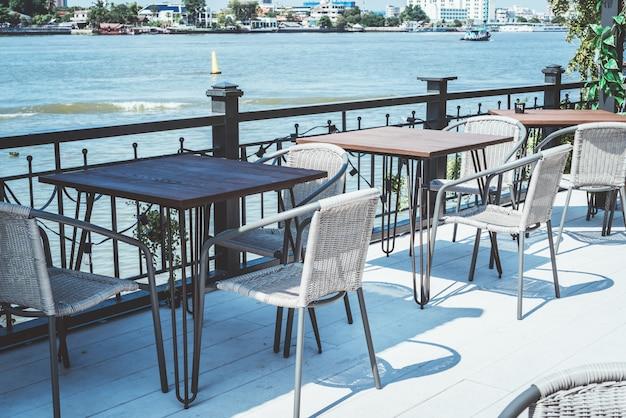 Empty outdoor patio in restaurant