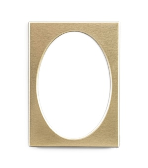 Empty oval golden photo frame isolated on white background