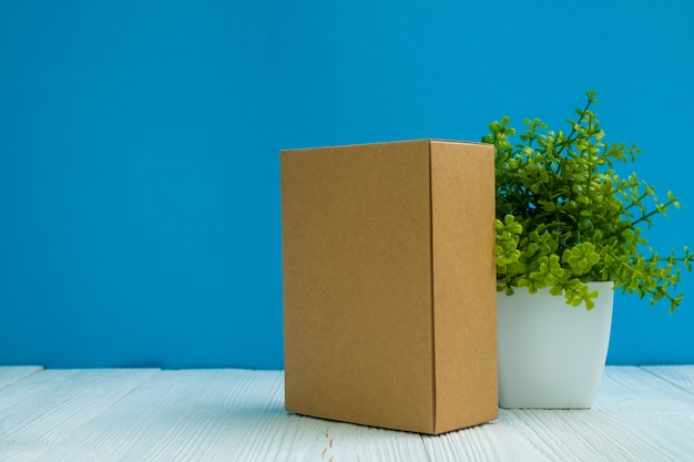 Cardboard box isolated on white background  template of long
