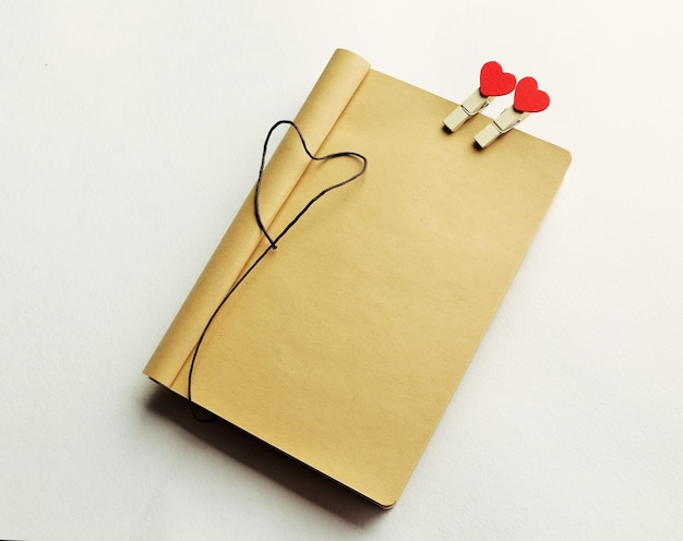 Empty page of notebook with hearts for valentine's day. can be used for signature