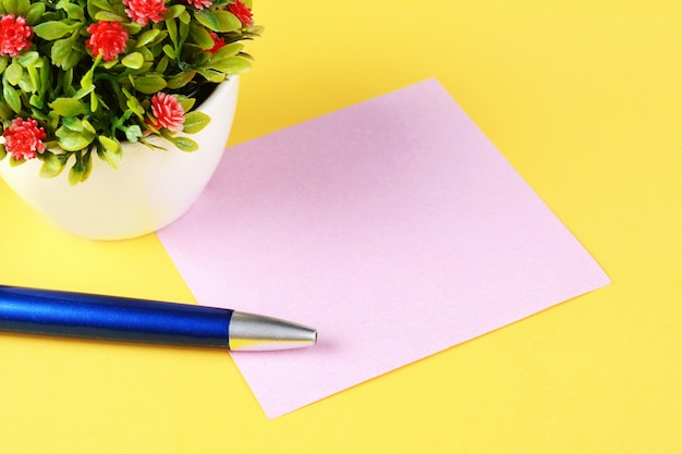 Empty paper card with pen