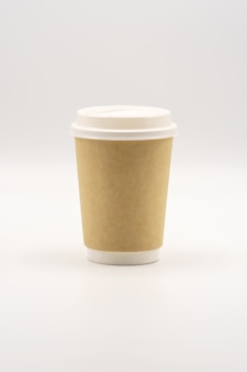 Empty paper cup with white lid, place for logo