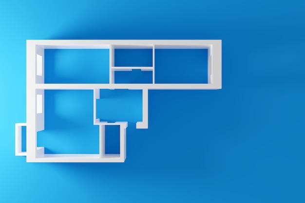 ベッドルームが2つある集合住宅の空のペーパーモデル