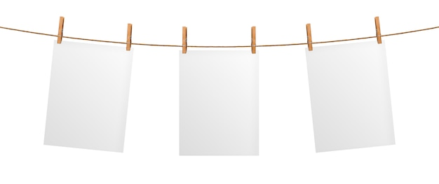 Empty paper sheet hanging on rope, isolated on white background