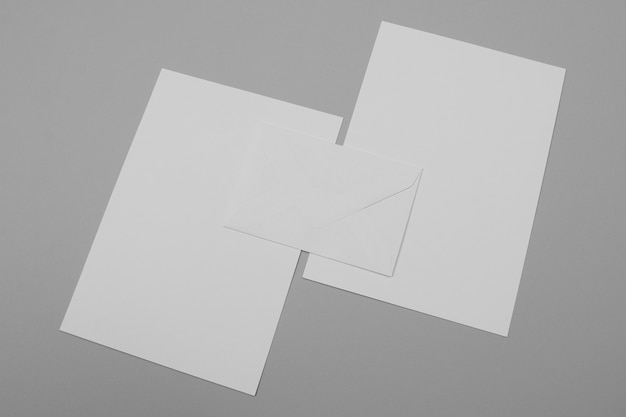Empty paper sheets high angle
