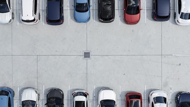 Пустые автостоянки, вид с воздуха.